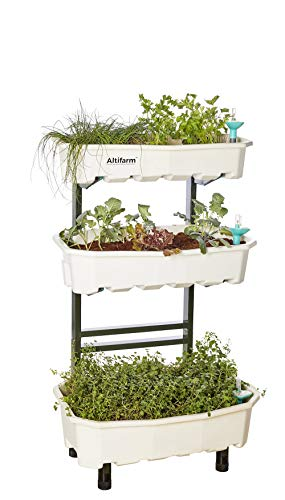 (Altifarm Home Farm; Vertical Raised Elevated Garden Self-watering Planter Kit For Indoor & Outdoor Gardening (3 Tier, White) - Premium All-season Grow System.)