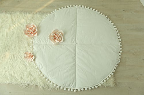 HAN-MM-Round-Teepee-Mat-Quilted-Playmat-for-FourFive-Poles-Teepee-Accessories-Baby-Play-Padded-Rug-Nursery-Decor-Tummy-Time-Mat-Babyshower-gift-White