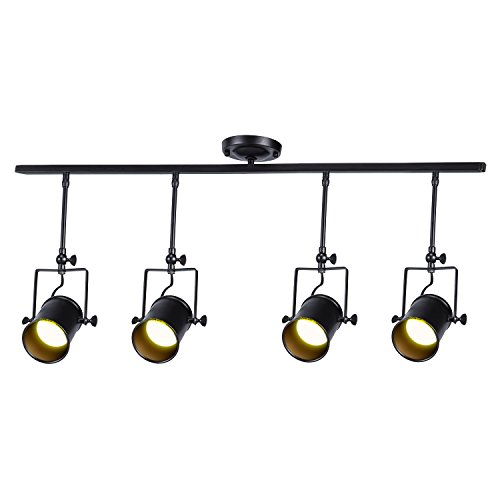 Vintage Matte Black Spotlight, Motent Industrial Retro Adjustable Metal Ceiling Lamp, Antique Flush Mounted Iron Wrought Minimalist Painted Track Lighting Fixture Set for Parlor Bar Cabinet - 4-Light