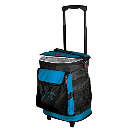 Logo Brands Carolina Panthers 48-Can Rolling Cooler with Wheels and Backpack Straps