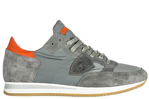 Philippe Model Scarpe Sneakers Uomo Camoscio Nuove Tropez Grigio
