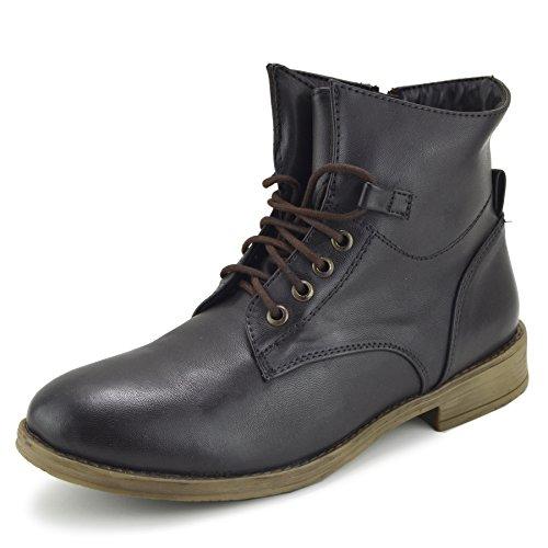 Kick Footwear Women's Combat Ankle Lace up Flat Boots Brown Premium