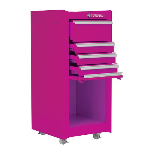 The Original Pink Box PB1804R 16-Inch 4-Drawer 18G Steel Rolling Tool/Salon Cart, with Bulk Storage, Pink