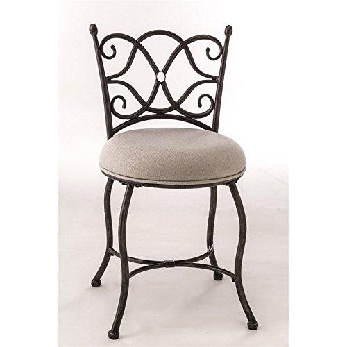 Hillsdale Furniture 51000 Vanity Stool in Gray and Black NEW