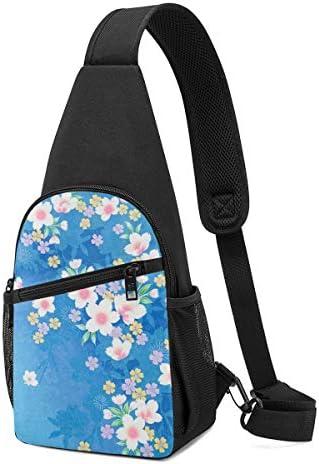 ボディ肩掛け 斜め掛け 桜の花 青 ショルダーバッグ ワンショルダーバッグ メンズ 軽量 大容量 多機能レジャーバックパック