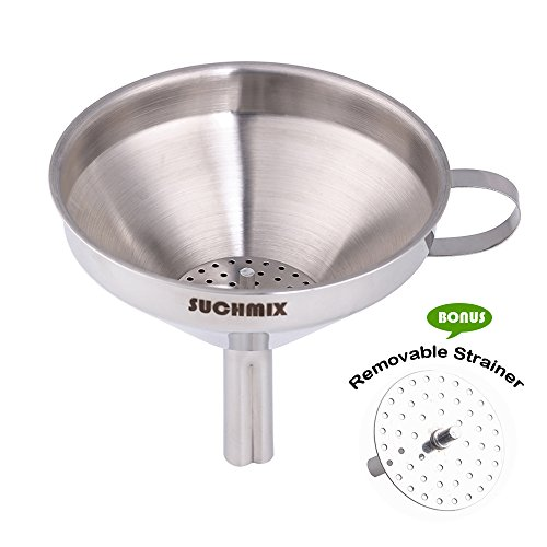SUCHMIX Stainless Steel Kitchen Funnel for Cooking Oils, Water Bottle Funnel with Detachable Strainer Filter for Transferring of Liquid, Fluid, Dry Ingredients and Powder - Silver
