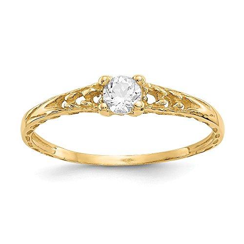 14kt Yellow Gold Madi K 3mm White Topaz Birthstone Baby Ring (Babys 14kt Gold Birthstone Ring)