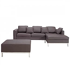Beliani oslo modern leather sofa with chaise for Chaise oslo but