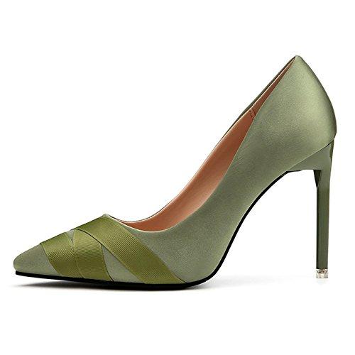 Señoras Nightclub Bombas Sandalias Tip Satin Para Sexy Tips Shallow Heels Mujer OL Profesional High Green Zapatos De rqFrxfRw