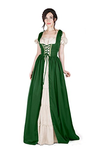 Renaissance Medieval Irish Costume Over Dress & Boho Chemise Set (2XL/3XL, Hunter Green) ()