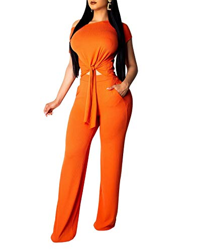 (Womens Sexy Two Piece Outfits Short Sleeve Rib Bandage Crop Top Wide Leg Pants Set Summer Jumpsuits Orange#1 XL)