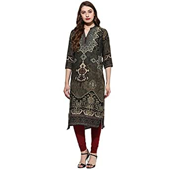 Lagi Women Designer Straight Front Slit A line Top Tunic Kurta Kurtis Casual Formal Party wear Wedding wear for Women top Tunic. (S, Green (RK2068A))