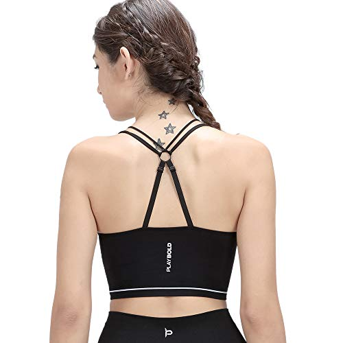 PLAYBOLD Women's Active Seamless Criss Cross Back Sports Bra Workout Yoga Bra with Adjustable Straps Bra For Sale