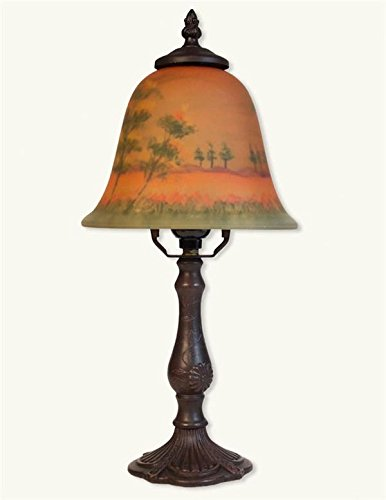 (Victorian Trading Co Woods at Dusk Reverse Hand Painted Glass Lamp New)