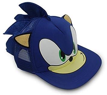 eb35e9639 Sonic The Hedgehog Snapback Face Cartoon Youth Adjustable Baseball Hat Cap  Blue
