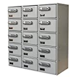 Hallowell UCTL392(30)-5A-E-PL Cell Phone/Tablet Modular Metal Box Locker with DigiTech Electronic Lock, 3 Wide, 15 Openings, 27'' Width x 12'' Depth x 30.5'' Height, Platinum