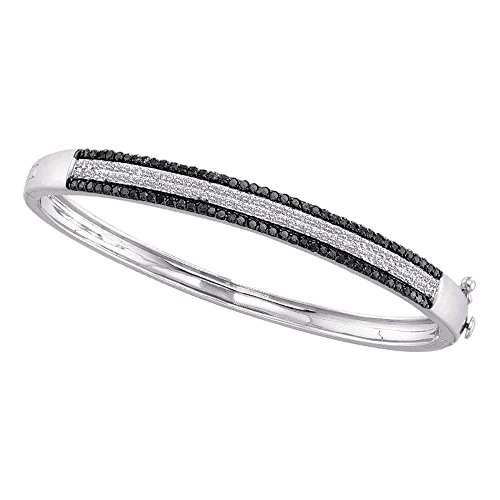 - 14kt White Gold Womens Round Black Color Enhanced Pave-set Diamond Bangle Bracelet 1-3/8 Cttw