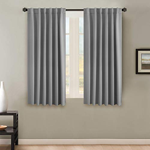H.VERSAILTEX Thermal Insulated Blackout Curtains for Bedroom, Rod Pocket/Back Tab Window Panel Drapes - 2 Panels - Grey, 52x63 Inch (Room Dinning Suites)