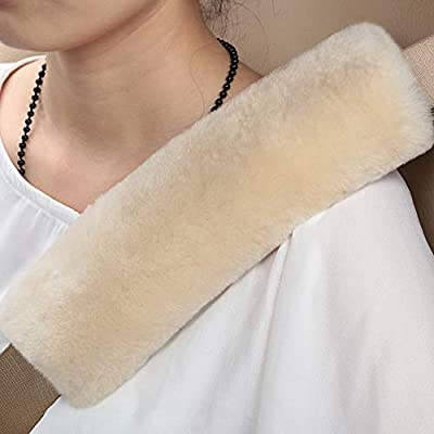 2 PCS Authentic Sheepskin Auto Seat Belt Cover Shoulder Seatbelt Pad for Adults Youth Kids Toddlers - Car, Truck, SUV, Airplane,Camera Backpack Straps - High Density Soft Australian Wool (Pearl): Automotive