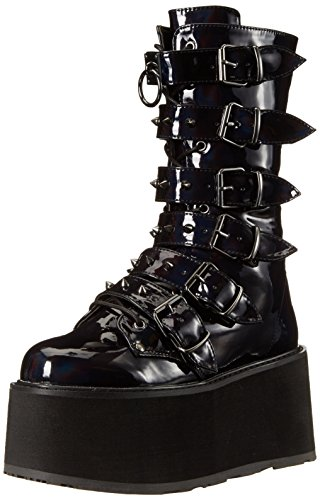 Demonia DAMNED-225 Blk Hologram Vegan Leather
