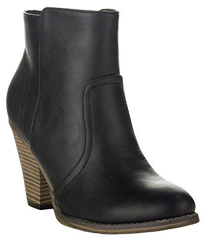 ROF Luxe-01 Women's Fashion Comfy Almond Toe Stacked Block Heel Side Zipper Ankle Booties