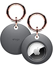 elago Basic Case Geschikt voor AirTag Sleutelhanger - Volledige Bescherming, Sleutelhanger Inbegrepen, Slank en Eenvoudig Design, Hoogwaardig Siliconen van Voedingskwaliteit, Krasvrij, Veilig voor Kinderen en Huisdieren (Donkergrijs)
