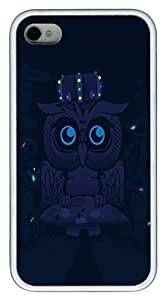 Abstract Blue Dark Night Mushrooms Glowing Owls Artwork HAC1014003 PC hard Case Cover for iphone 6 4.7 White