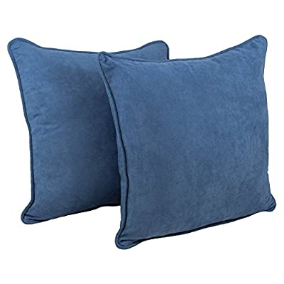 Blazing Needles Double-Corded Solid Microsuede Square Floor Pillows with Inserts (Set of 2)