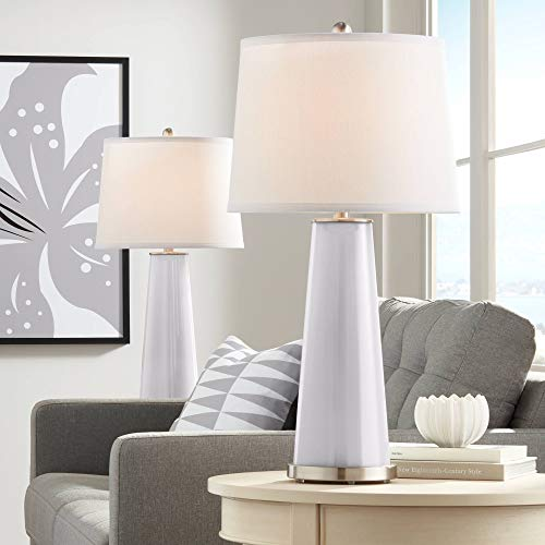 Leo Modern Table Lamps Set of 2 Swanky Gray Glass Tapered Column White Drum Shade for Living Room Family Bedroom Bedside - Color + ()