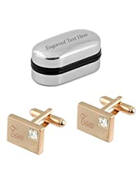 Rectangle Engraved Cufflinks~Rose Gold Personalised Oblong Cufflinks~Rectangular Cufflinks with pouch or Cufflinks Box