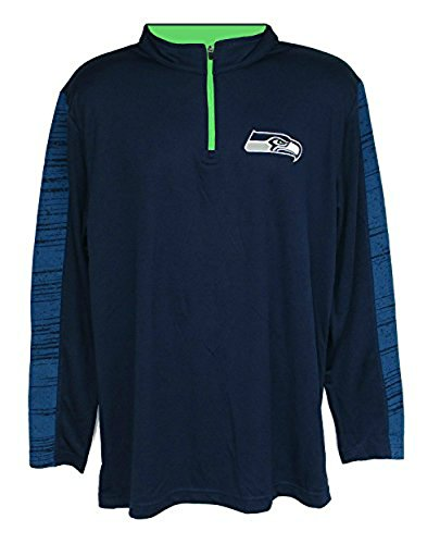 Seattle Seahawks Adult 2X-Large 2XL 1/4 Zip Pullover Shirt - Navy Blue & Lime Green