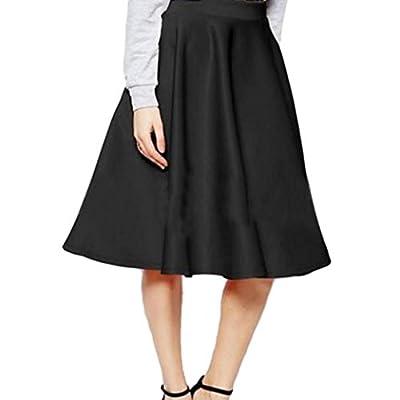 Lookatool Skirts, Vintage Women Stretch Waist Skater Flared Pleated Swing Dress