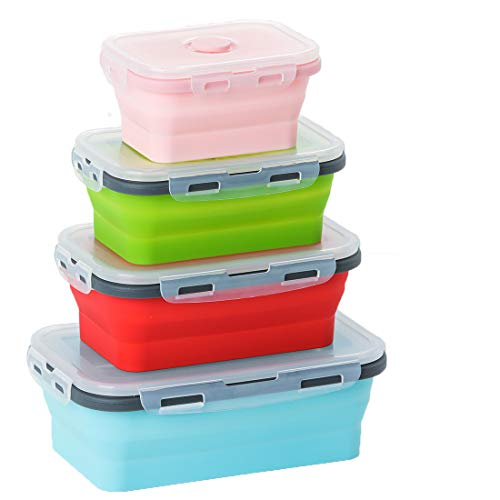 GXABK Collapsible Silicone Food Storage Containers - Set of 4 Silicone Lunch box Containers for Kids or Kitchen, BPA Free, Microwave, Dishwasher and Freezer Safe (Small 12oz to Extra large 42oz) ()