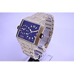 ZERO HALLIBURTON ZW004G-02 Men's Square Dual Time Gold Watch Date 5 ATM water resistant