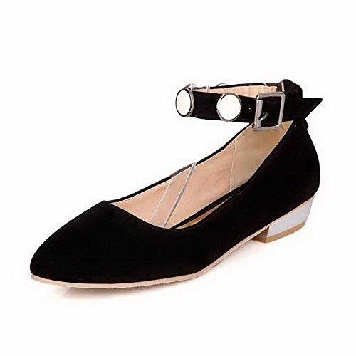 Amoonyfashion Hebilla Para Mujer Acentuada Con Punta Cerrada, Tacones Bajos Imitación De Gamuza Con Sólidos Zapatos De Bomba, Negro