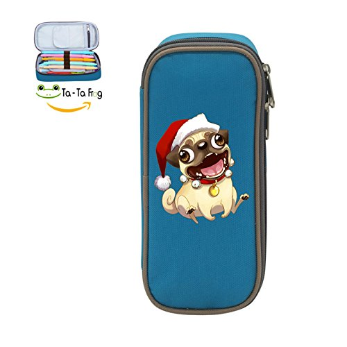 Wcf Case - Mybox Santa Pug Merry Christmas Cube Pen Case Pencil Box Soft Canvas Student Stationery Office Storage