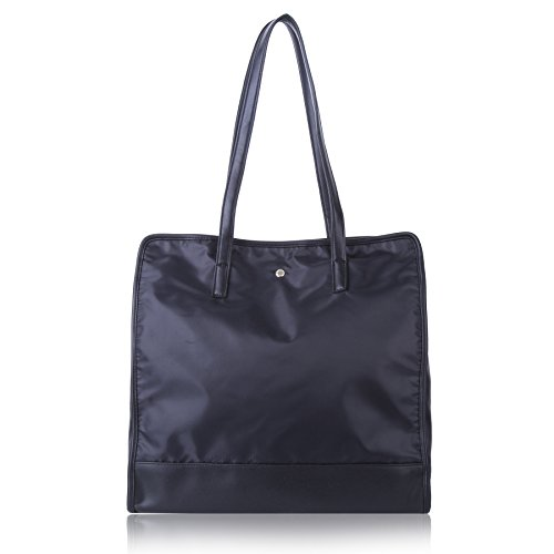 Blk Wall Base (The Lovely Tote Co. Women's Square Vegan Leather Base Soft Top Handle Tote Bag, Black)