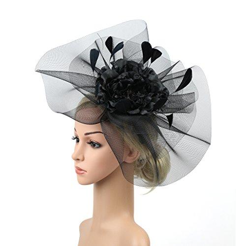 Merya Dress Kentucky Derby Fascinator Hats Feather Prom Cocktail Tea Party Hat Black-AA by Merya Dress (Image #4)