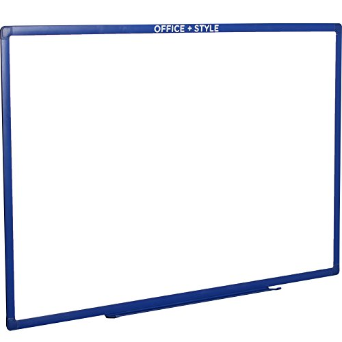 Office Style B01LZBM0RE Large Magnetic Dry Erase Board Wall Mounted Durable Aluminum Frame, 24x36 Inches, with Pen Tray, Blue, by Office + Style