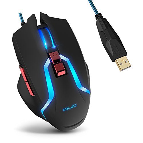 Gaming Mouse, ELZO Optical USB Wired Mice with 5 Adjustable DPI Levels, 7 Buttons and Breathing Light for PC, Laptop, Tablet, Computer and (Asus Laptop Mouse)