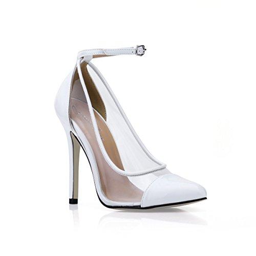 Cliquez la chaussures rouge sur point verre colle le automne blanc transparent de Nouveau chaussures White le talon dans et de banquet chaussures haut dXCqdZvr
