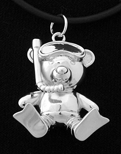 Silver Plated Teddy - Sterling Silver Rhodium Plated Scuba Diver Teddy Bear Animal Pendant Necklace snorkeler ocean marine diving Jewelry
