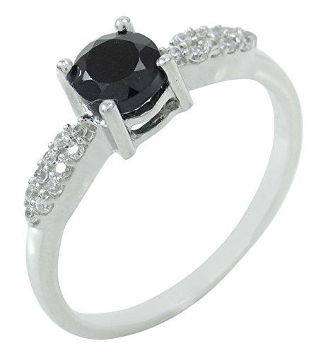 Banithani 925 Solid Silver Black Tourmaline Stone Band Indian Women Ring Gift Jewelry from Banithani