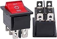 Twidec/2Pcs AC 20A/125V 15A/250V DPDT 6 Pins 3 Position ON/Off/ON Red LED Light Illuminated Boat Rocker Switch