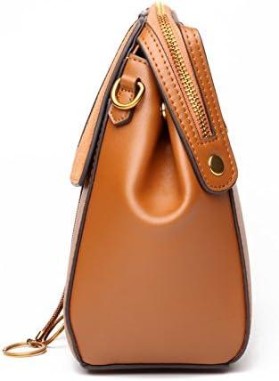 Elegdy Womens Shoulder Bag Leather Handbag Leather Retro Versatile Portable Oblique Ladies Handbag Fashion Color : Purple, Size : S