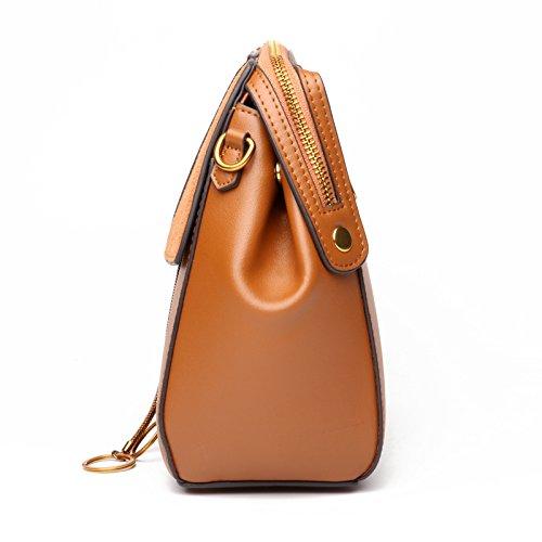 Portátil Versátil S Mujer Oblicuo Para Moda De Tanxinxing Size color Brown Green Diseño Bolso Cuero Retro 6qYCFz