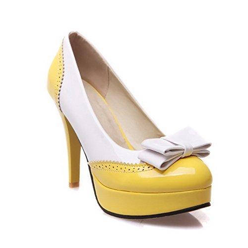 Allhqfashion Womens Ronde Dichte Teen Hoge Hakken Lakleder Pull-on Pumps-schoenen Geel
