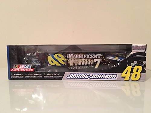 2016 7X Sprint Cup Champion Magnificent Seven 7 Jimmie Johnson #48 Lowes 1/64 Scale Hauler Trailer Semi Rig Transporter Truck -
