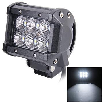 Uniqus 18W 6 LED White Light Floodlight Engineering Lamp Waterproof IP67 SUVs Light, DC 10-30V(Black)
