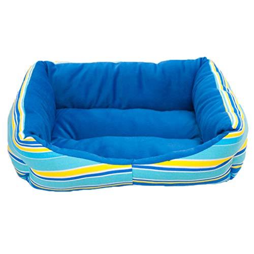 Krastal Dog Bed Canvas Plush Rainbow Striped Rectangle Dog Sleep Bed Winner Warm Rest Dog Soft Bed